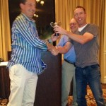 Alan Morrison receives the Dental Ryder Cup from US Captain Todd Hardin